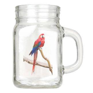 Scarlet Macaw mason jar with handle