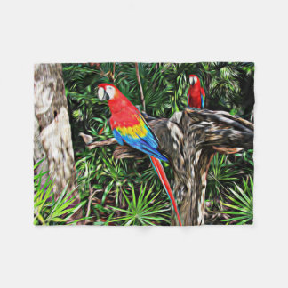 Scarlet Macaw Painterly Look Photography Fleece Blanket