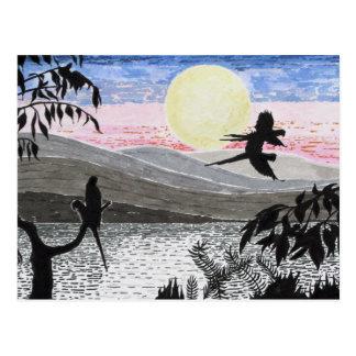 Scarlet Macaw Parrots At Dusk postcard