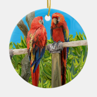 Scarlet Macaw Parrots Perching Ceramic Ornament
