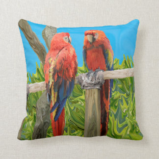 Scarlet Macaw Parrots Perching Throw Cushion