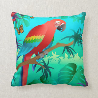 scarlet macaw pillow