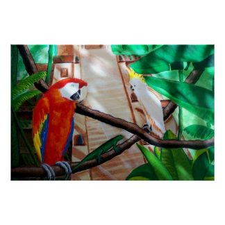 Scarlet Macaw White Parrot Amazon Jungle Poster