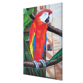Scarlet Macaw Wildlife Amazon Jungle Bird Painting Gallery Wrap Canvas