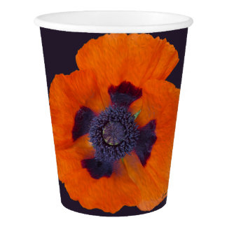 Scarlet Orange Poppy 1 Paper Cup