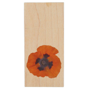 Scarlet Orange Poppy 1 Wood USB Flash Drive