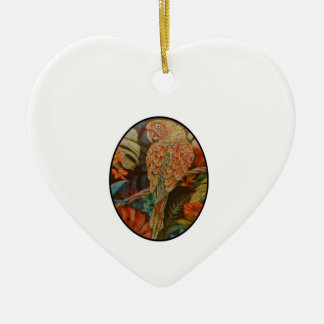 Scarlet Parrot Ceramic Ornament