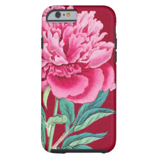 scarlet  pink peonies tough iPhone 6 case