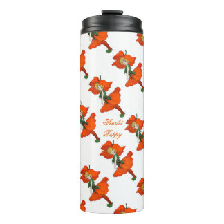 Scarlet Poppy Cute Flower Child Floral Vintage Thermal Tumbler