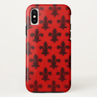 Scarlet red and black royal fleur de lis pattern iPhone x case