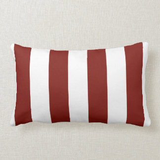 Scarlet Red and White Bold Vertical Stripes Lumbar Cushion