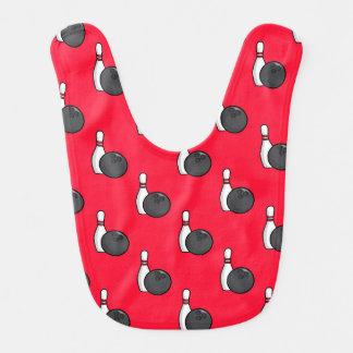 Scarlet Red Bowling Pattern Baby Bib