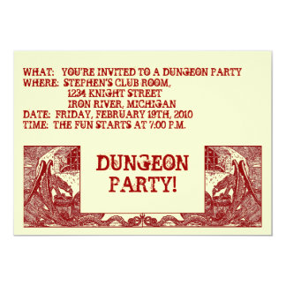 "SCARLET RED DRAGONS IN DUNGEONS ~PARTY INVITATION! 5"" X 7"" INVITATION CARD"