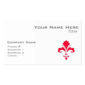 Scarlet Red Fleur-de-lis Business Card Template