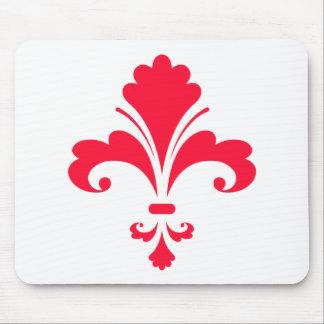 Scarlet Red Fleur-de-lis Mouse Pad