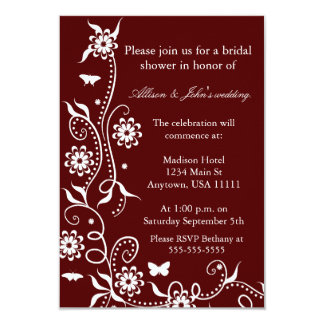 Scarlet Red Floral Swirl Bridal Shower Invitation
