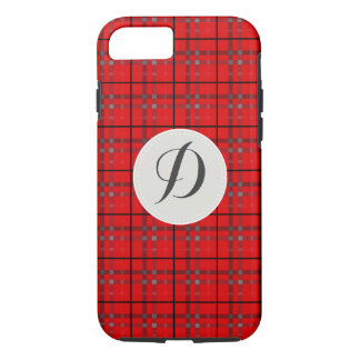 Scarlet Red, Gray, Black Monogram Name Plaid iPhone 7 Case