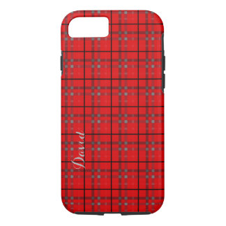 Scarlet Red, Gray, Black Name Plaid iPhone 7 Case