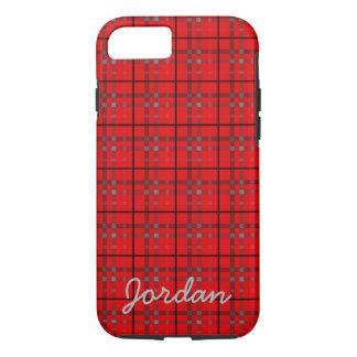 Scarlet Red, Gray, Black Plaid Name Monogram iPhone 8/7 Case