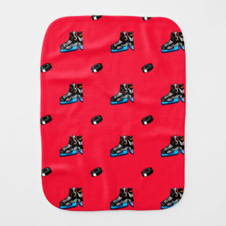 Scarlet Red Ice Hockey Pattern Burp Cloth
