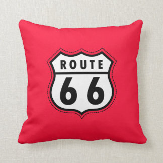 Scarlet Red Route 66 road sign Cushion