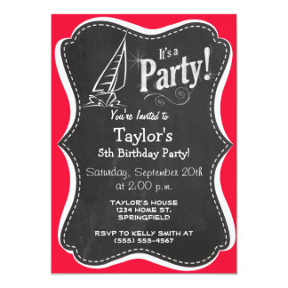 Scarlet Red Sailing; Sail Boat 13 Cm X 18 Cm Invitation Card