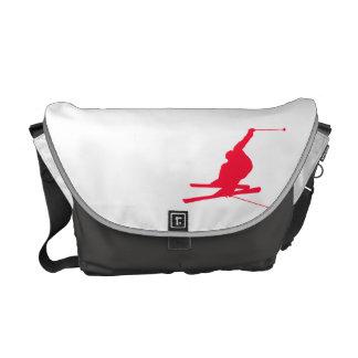 Scarlet Red Snow Ski Messenger Bags