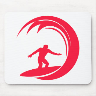 Scarlet Red Surfing Mouse Pad