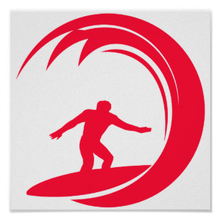 Scarlet Red Surfing Poster