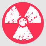 Scarlet Red Toxic radioactive symbol Round Sticker