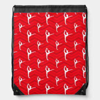 Scarlet Red, White, Chevron, Ballet Dancer Drawstring Bags