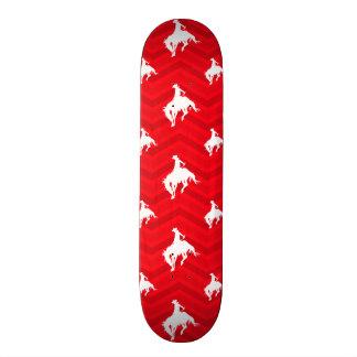 Scarlet Red White Chevron Rodeo Cowboy Skateboard