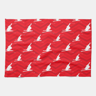 Scarlet Red, White, Chevron, Snow Ski Tea Towel