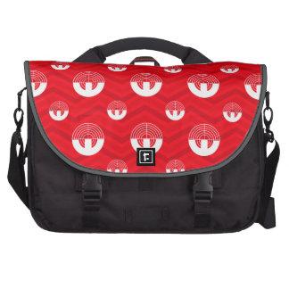 Scarlet Red, White, Chevron, Sport Shooting Laptop Commuter Bag