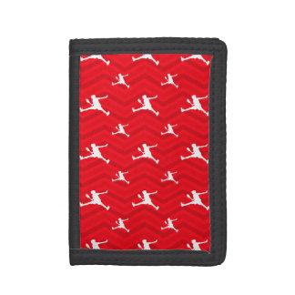 Scarlet Red, White, Chevron, Tennis Tri-fold Wallets