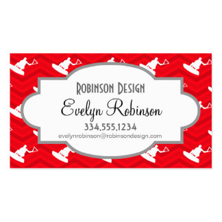 Scarlet Red, White, Chevron, Wakeboarding Pack Of Standard Business Cards