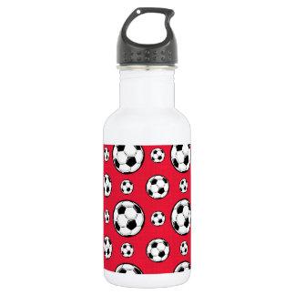 Scarlet Red & White Soccer Ball Pattern 532 Ml Water Bottle