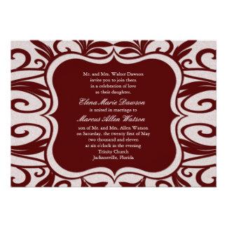 Scarlet Swirl Emblem Wedding Invitation