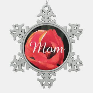 Scarlet Tulip Pewter Snowflake Decoration