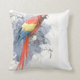 Scarlet Watercolor Macaw Bird pillow