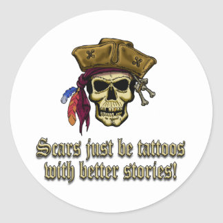 Scars Just be Tattoos Classic Round Sticker