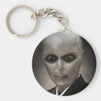 Scary alien portrait basic round button key ring