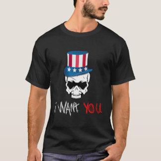 Scary Angry American Skull Wants YOU T-Shirt