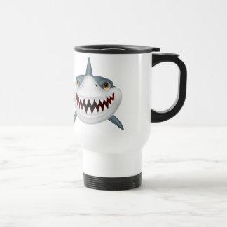 Scary animated shark face travel mug