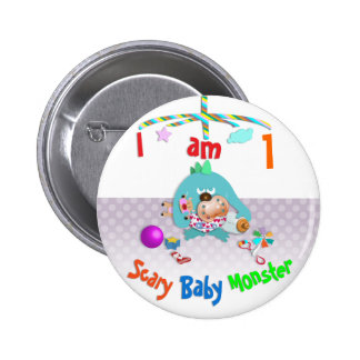 Scary baby monster. 6 cm round badge
