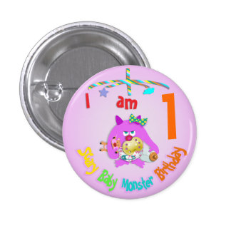 Scary baby monster birthday pin