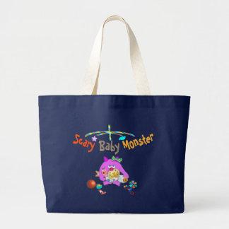 Scary baby monster printed bag. jumbo tote bag