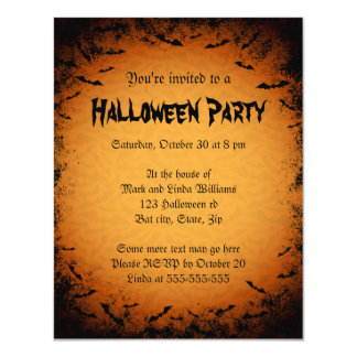 Scary bats dark frame Halloween party invitation