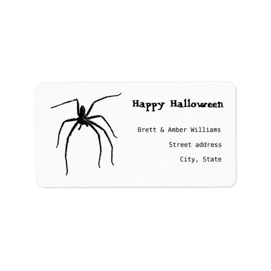 Scary big halloween spider address label