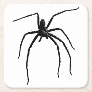 Scary big halloween spider square paper coaster